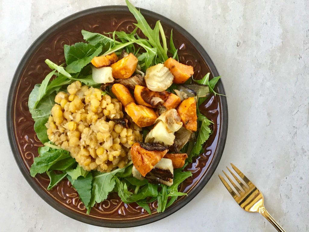 Roasted Vegetable Salad with Split Peas